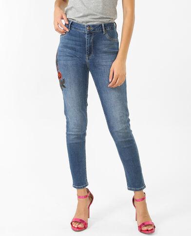 Geborduurde skinny jeans denimblauw