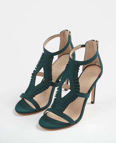 Sandalen met hoge hakken dennengroen