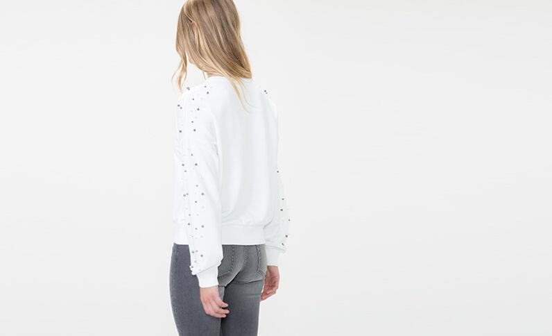 Sweater met parels gebroken wit