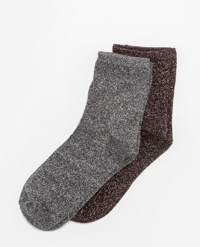 Set met 2 paar sokken van lurex grijs