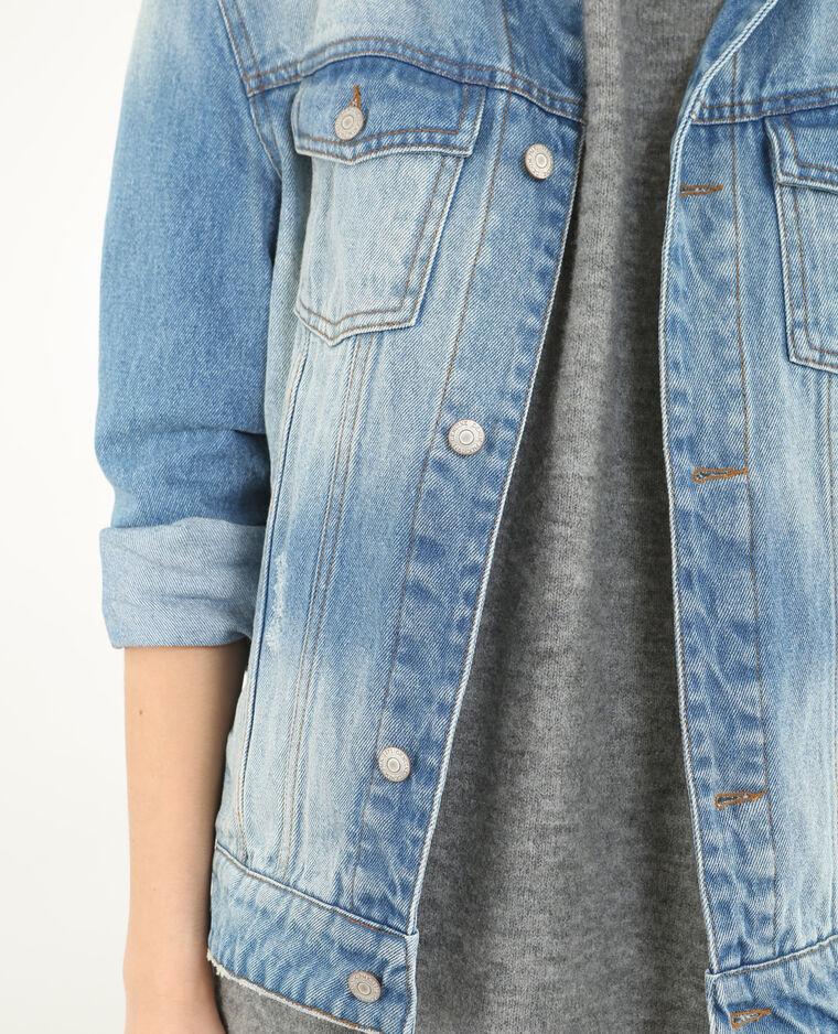 Denim jasje met borduursels blauw