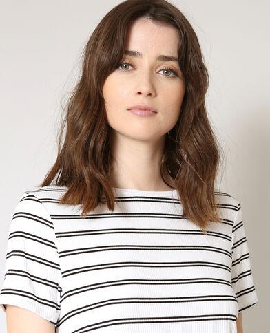 T-shirt met strepen ecru