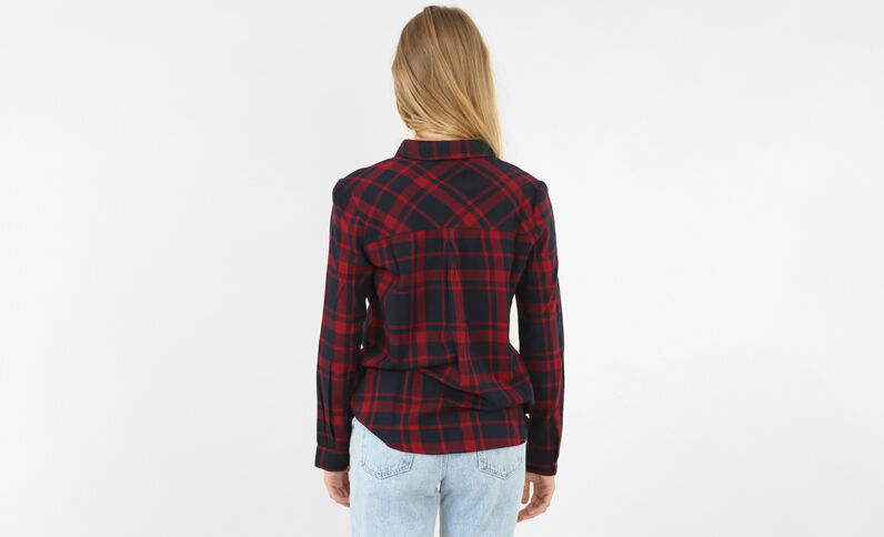 Chemise à carreaux rouge foncé