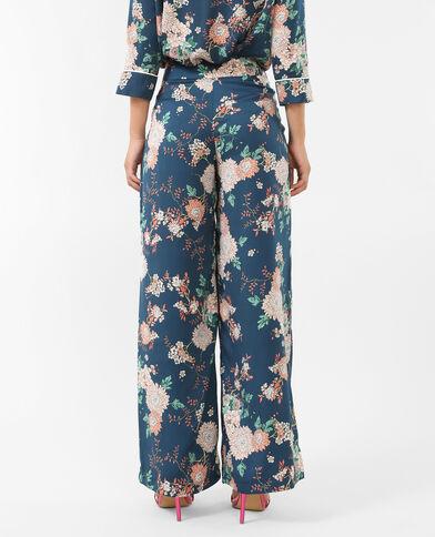 Pantalon style pyjama satiné bleu canard