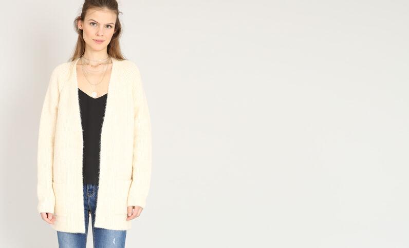Vest van warm tricot Beige