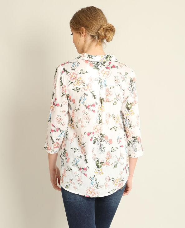 Overhemd met bloemenprint wit