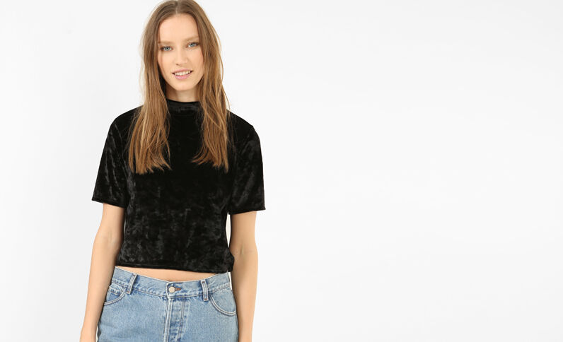 Cropped top velours noir