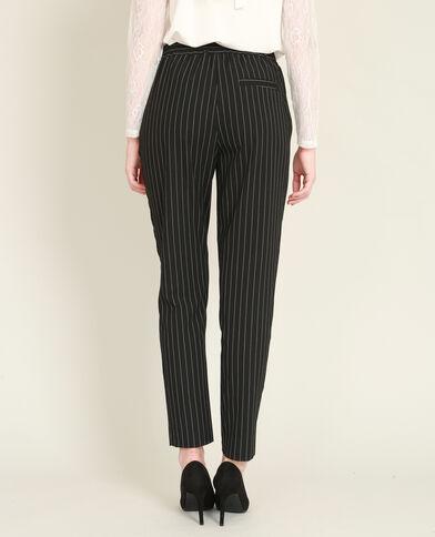 Soepele broek met strepen zwart