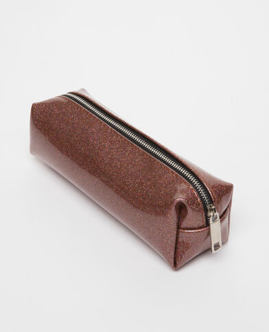 Trousse glitter marron