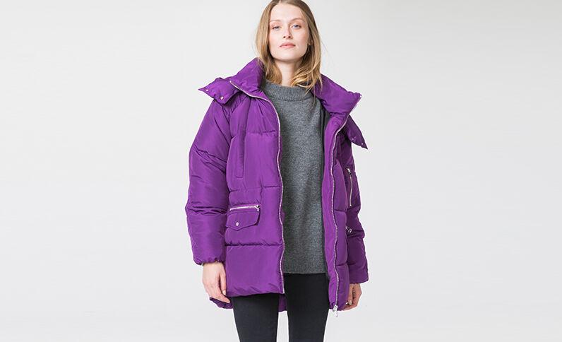 Lange, wijdvallende donsjas violet