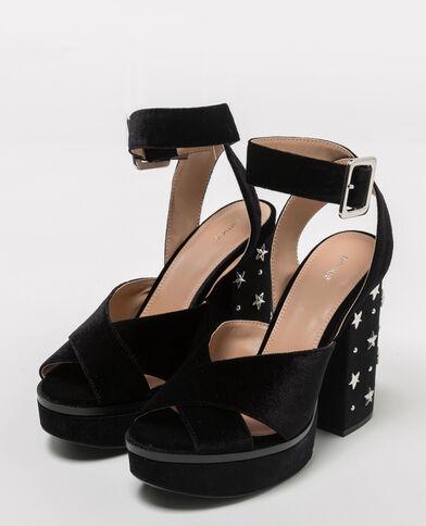 Sandales à plateau velours clouté noir