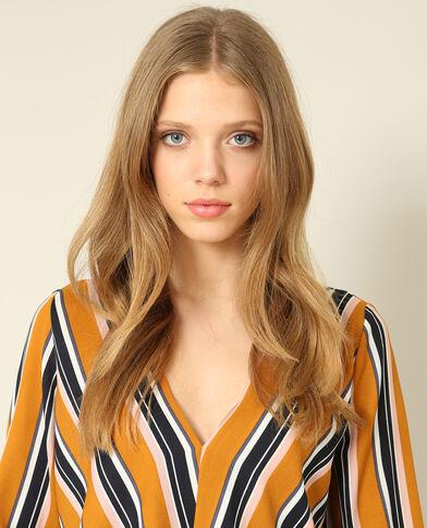 Gestreepte blouse geel