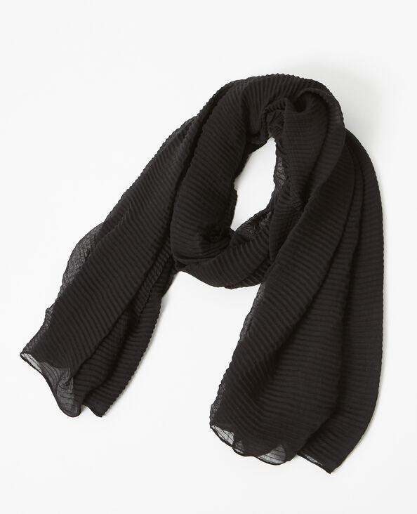Foulard uni plissé noir