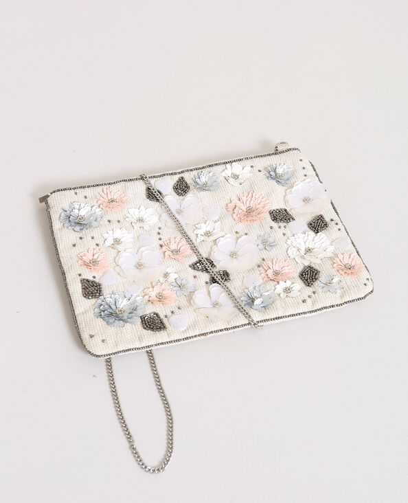 Sac pochette à fleurs blanc cassé