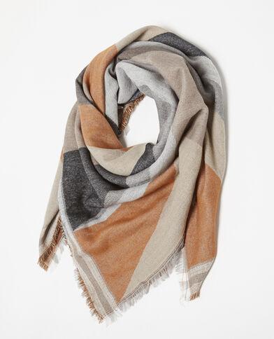 Warme sjaal met motieven kastanjebruin