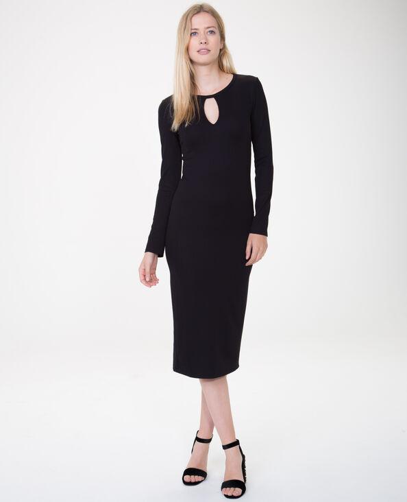 Lange geribde jurk zwart