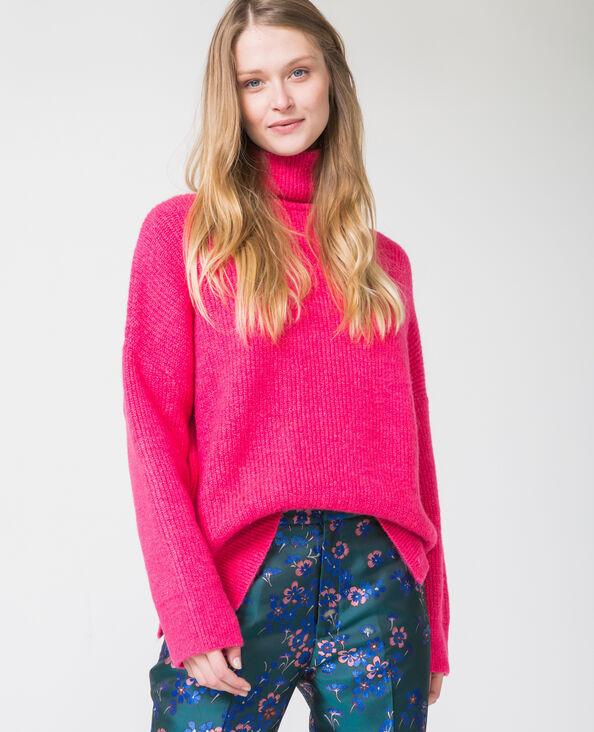 Warme trui met rolkraag roze