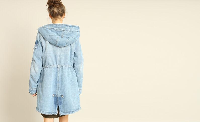 Gevoerde mantel van spijkerstof blauw