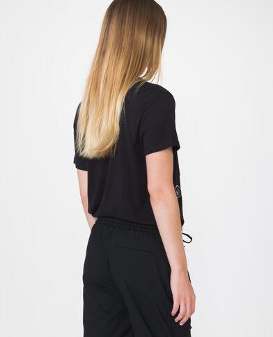 T-shirt met borduursels zwart