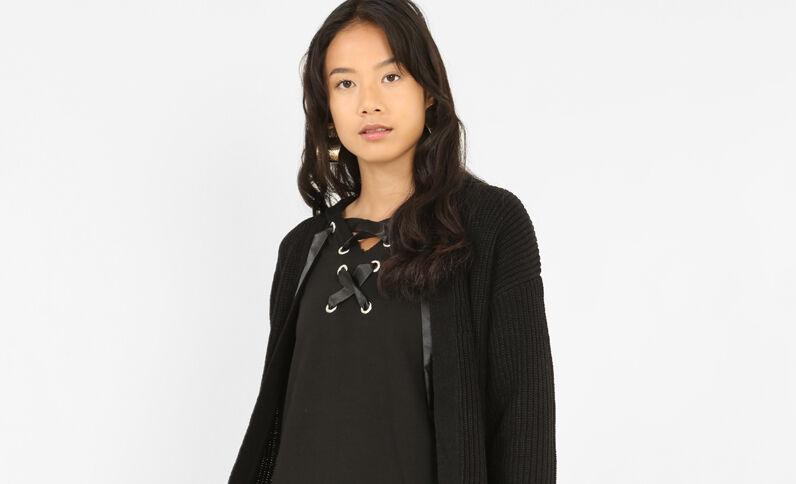 Lange blazer met zakken zwart