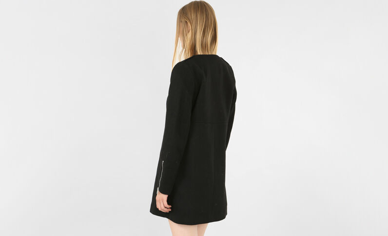 Halflange jas zwart