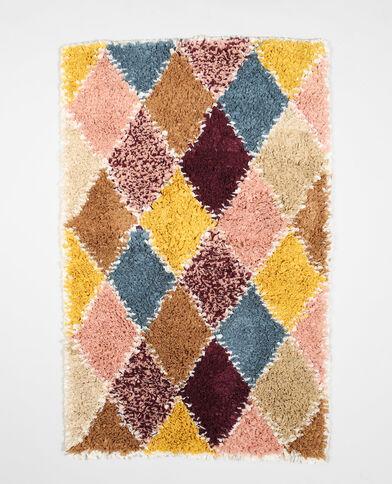Meerkleurig tapijt met franjes geel