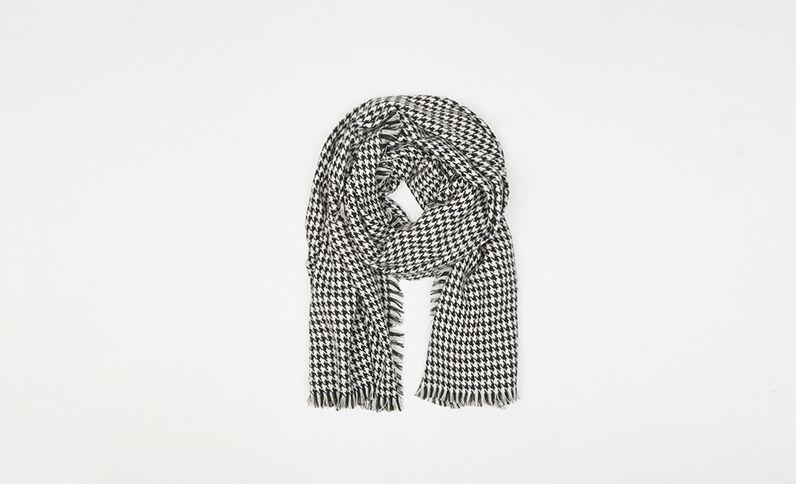 Sjaal/plaid met hanenpootmotief ecru