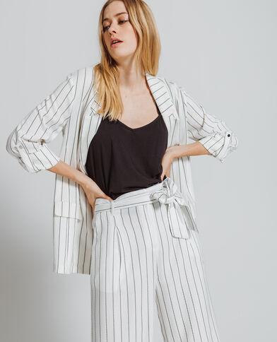 Veste blazer à rayures beige