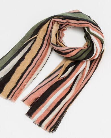 Gestreepte sjaal roze