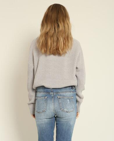 Asymmetrische trui gemêleerd grijs