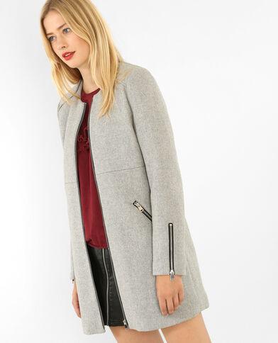 Halflange jas met rits gemêleerd grijs