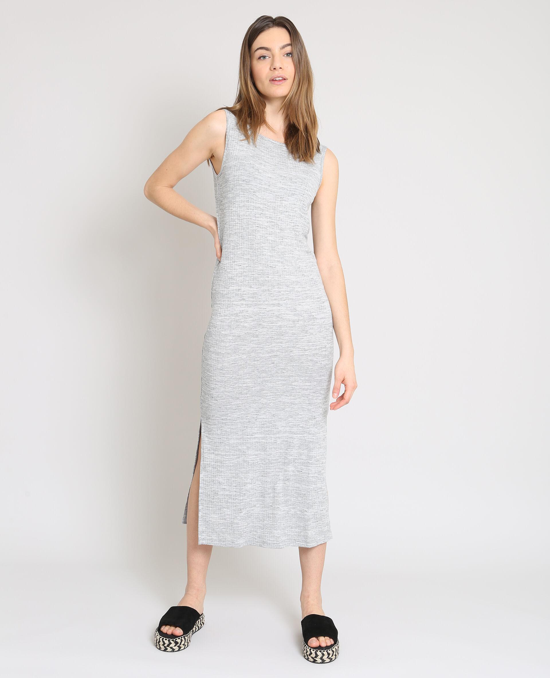 strakke grijze jurk