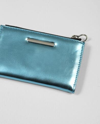Portefeuille métallisé bleu aqua