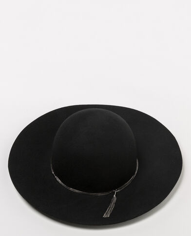 Chapeau capeline à chaines noir