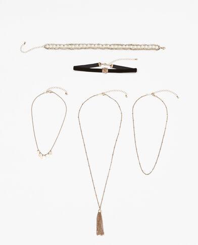 Set van 5 halskettingen goudkleurig