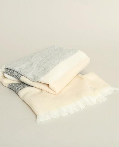 Echarpe à rayures crème