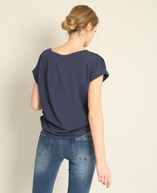 T-shirt met parels marineblauw