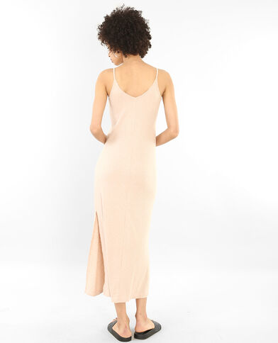 Longue robe côtelée rosa cipria