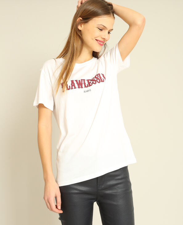T-shirt met opschrift wit