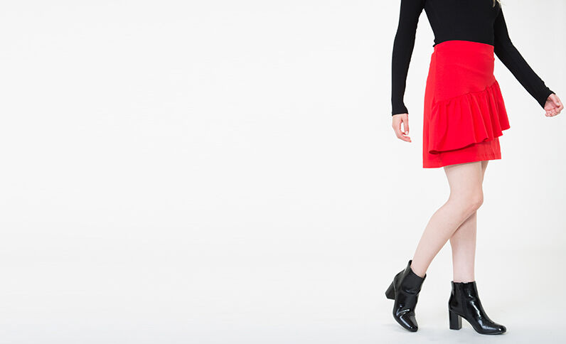 Rok met ruches Rood