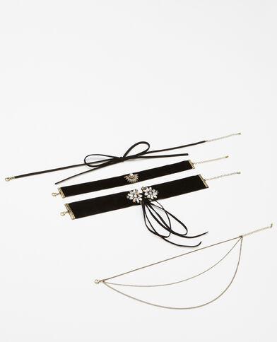 Set van 4 chokerkettingen zwart