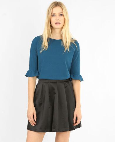 T-shirt met ruchemouwen eendenblauw