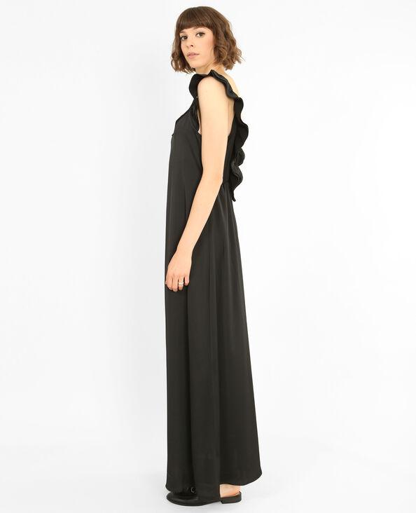 Lange satijnen jurk zwart