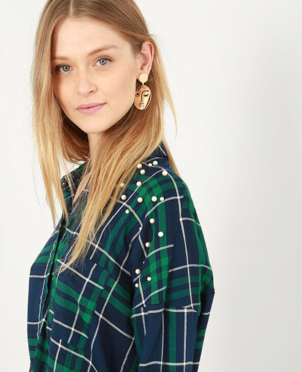 Chemise à carreaux et à perles bleu