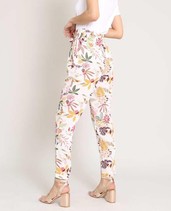Soepelvallende broek met print wit