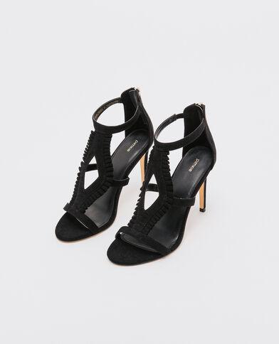 Sandalen met hoge schacht en ruches zwart