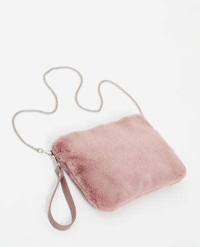 Groot enveloptasje van imitatiebont roze