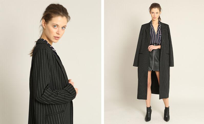 Manteau long à rayures noir