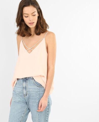 Topje met dunne gekruiste schouderbandjes vooraan Roze