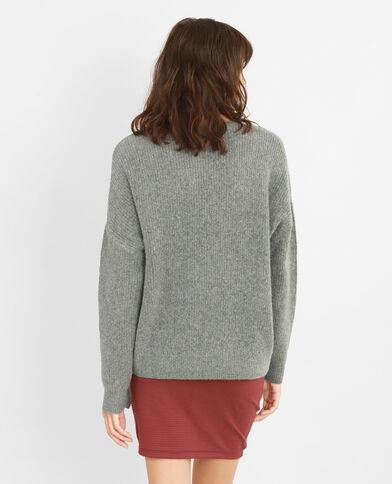 Oversized trui met sleuflintje gemêleerd grijs